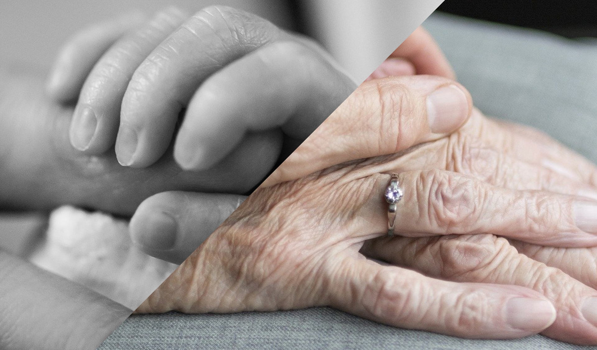 Image split with one side showing a baby clutching a hand and other side showing elderly hand.