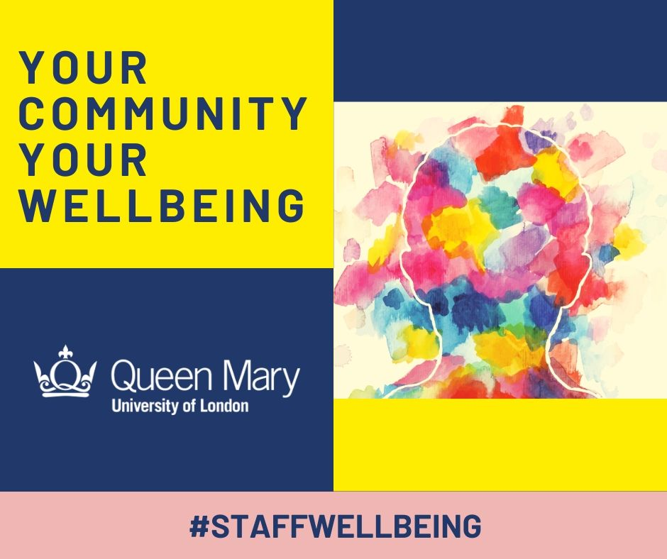 Tile for Your Community, Your Wellbeing webinar series. Contains title, Queen Mary logo and abstract image.
