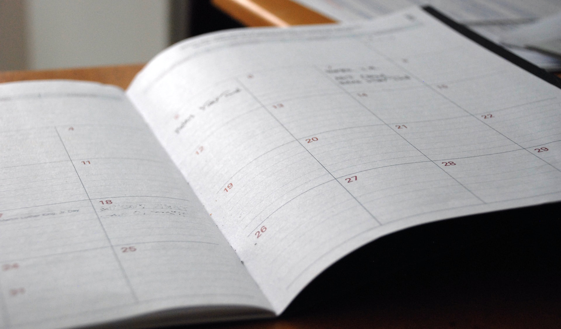 Close up of a monthly planner.